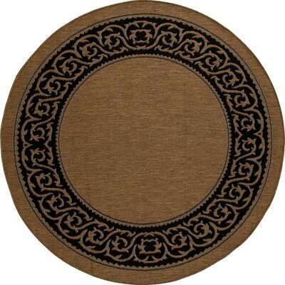 Beaminster Brown/Black Indoor/Outdoor Area Rug Rug Size: ROUND 67