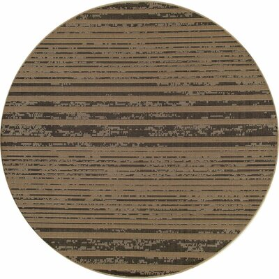 Beaminster Black/Tan Indoor/Outdoor Area Rug Rug Size: ROUND 7'10