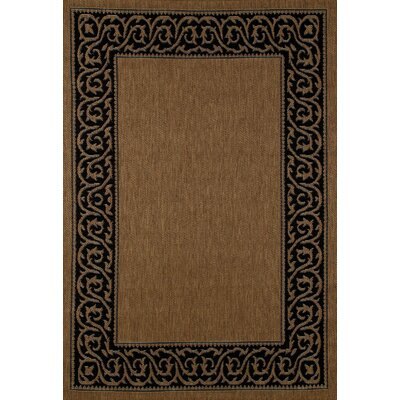 Plymouth Brown/Black Indoor/Outdoor Area Rug Rug Size: 53 x 77