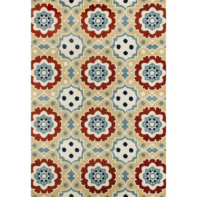 Vasquez Machine Woven Beige Indoor/Outdoor Area Rug Rug Size: 53 x 77
