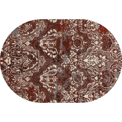 Hewish Red Area Rug Rug Size: OVAL 53 x 77