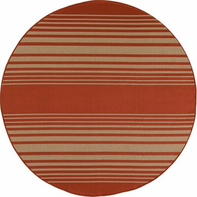 Plymouth Red Indoor/Outdoor Area Rug Rug Size: Round 710