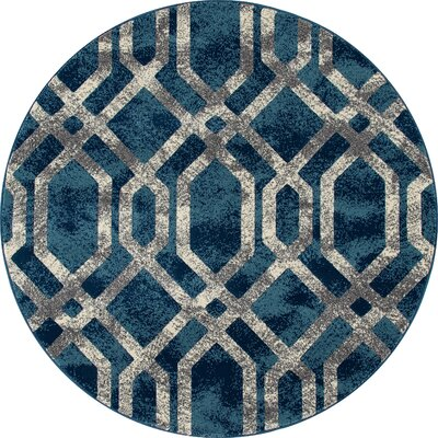 Delanie Blue And Silver Area Rug Rug Size: ROUND 710