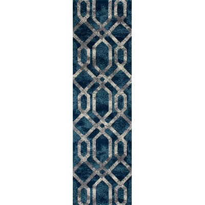 Bastille Blue And Silver Area Rug Rug Size: Runner 2 x 8