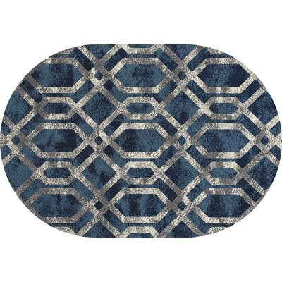 Bastille Blue And Silver Area Rug Rug Size: Oval 4 x 6