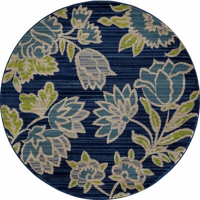 Arbor Navy Blue Area Rug Rug Size: Round 53