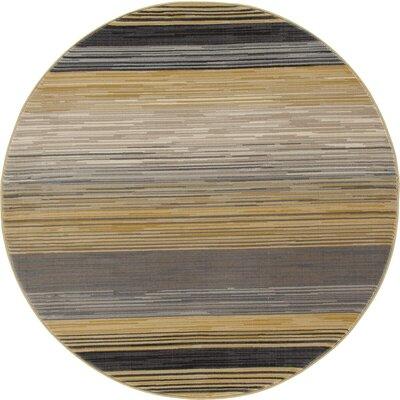Vassallo Yellow Area Rug Rug Size: ROUND 53
