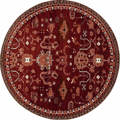 Arabella Red Area Rug Rug Size: Round 5