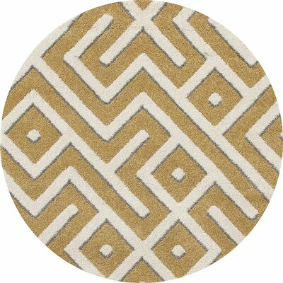 Highline Yellow Area Rug Rug Size: Round 8