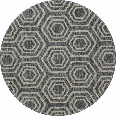 Highline Gray Area Rug Rug Size: Round 5