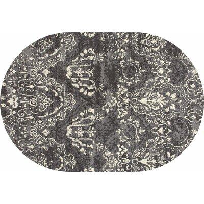 Hewish Gray Area Rug Rug Size: OVAL 53 x 77