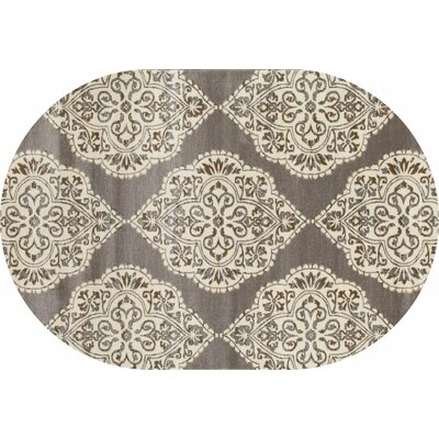 Jack Brown / White Area Rug Rug Size: OVAL 67 x 96