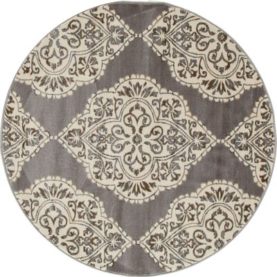 Arabella Brown / White Area Rug Rug Size: Round 8