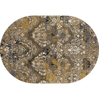 Hewish Yellow Area Rug Rug Size: OVAL 67 x 96