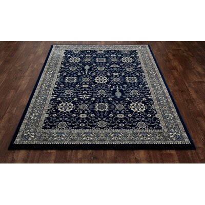 Kensington Machine Woven Navy Area Rug Rug Size: Oval 4 x 6