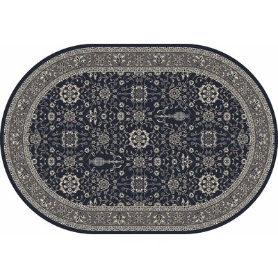Kensington Machine Woven Navy Area Rug Rug Size: Oval 5 x 8