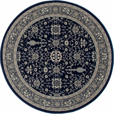 Kensington Machine Woven Navy Area Rug Rug Size: Round 5