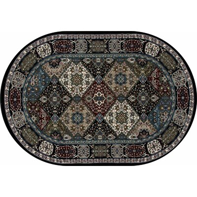 Kensington Black Area Rug Rug Size: Oval 7 x 10