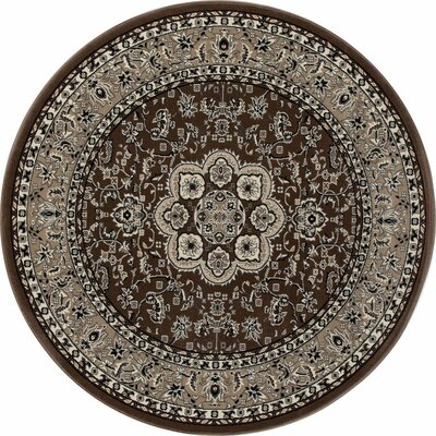 Kensington Brown Area Rug Rug Size: Round 5