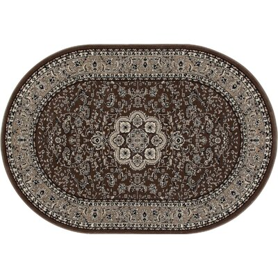 Kensington Brown Area Rug Rug Size: Oval 7 x 10