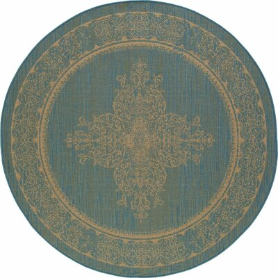 Cazares Teal/Beige Indoor/Outdoor Area Rug Rug Size: ROUND 710
