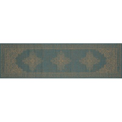 Cazares Teal/Beige Indoor/Outdoor Area Rug Rug Size: Runner 27 x 9