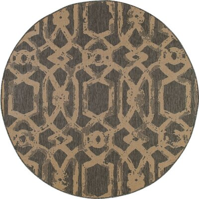 Cazares Gray/Beige Indoor/Outdoor Area Rug Rug Size: ROUND 67