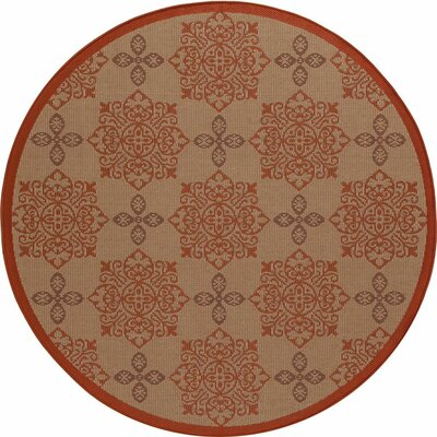 Beaminster Tan Indoor/Outdoor Area Rug Rug Size: ROUND 67