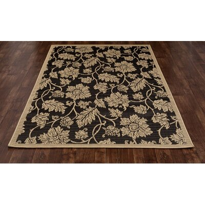 Beaminster Black/Beige Indoor/Outdoor Area Rug Rug Size: 53 x 77