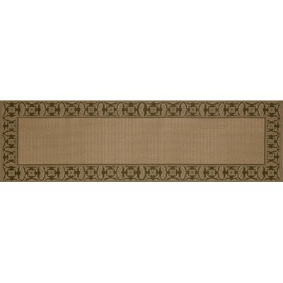 Beaminster Green/Beige Indoor/Outdoor Area Rug Rug Size: Runner 27 x 9