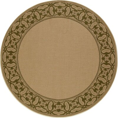 Plymouth Green/Beige Indoor/Outdoor Area Rug Rug Size: Round 67