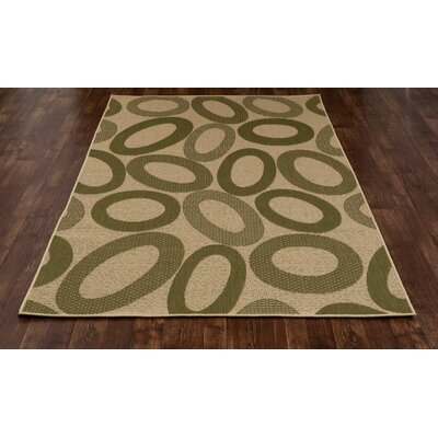 Lusk Green/Cream Indoor/Outdoor Area Rug Rug Size: 53 x 77
