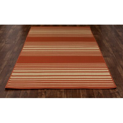 Beaminster Red Indoor/Outdoor Area Rug Rug Size: 53 x 77