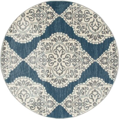 Arabella Machine Woven Blue Area Rug Rug Size: Round 5