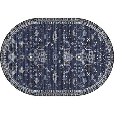Arabella Machine Woven Navy Area Rug Rug Size: Oval 7 x 9