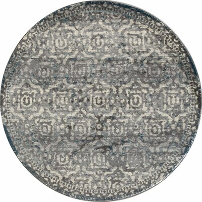 Arbor Gray/Teal Area Rug Rug Size: Round 53