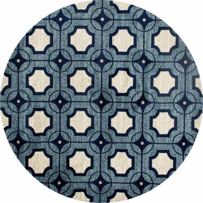 Crim Blue Area Rug Rug Size: ROUND 53