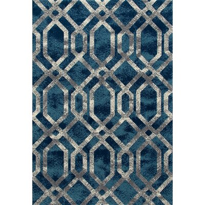 Delanie Blue And Silver Area Rug Rug Size: 67 x 96