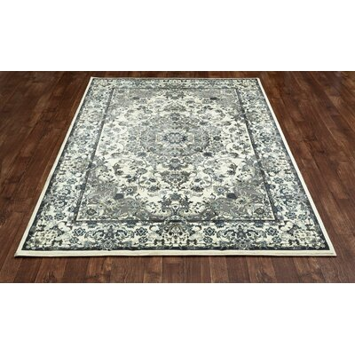 Channel Cream/Aqua Area Rug Rug Size: 53 x 77