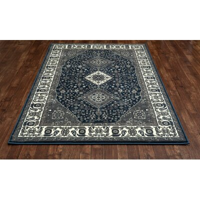 Channel Steel Blue/Gray Area Rug Rug Size: 53 x 77