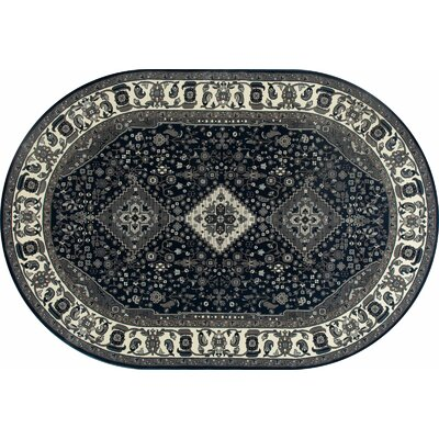 Channel Steel Blue/Gray Area Rug Rug Size: OVAL 6'7 x 9'6