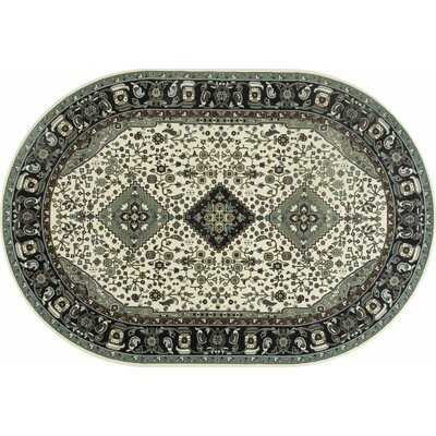 Channel Aqua/Ivory Area Rug Rug Size: OVAL 67 x 96
