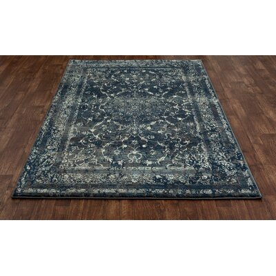 Channel Steel Blue Area Rug Rug Size: 53 x 77