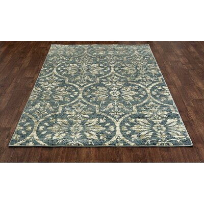 Channel Aqua/Cream Area Rug Rug Size: 53 x 77