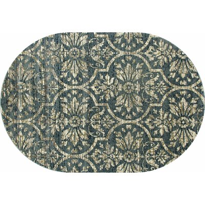 Channel Aqua/Cream Area Rug Rug Size: OVAL 67 x 96