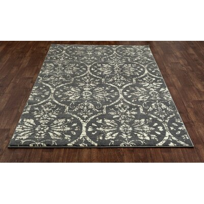 Channel Gray/Cream Area Rug Rug Size: 53 x 77