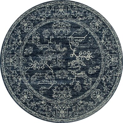 Channel Steel Blue Area Rug Rug Size: ROUND 7'10
