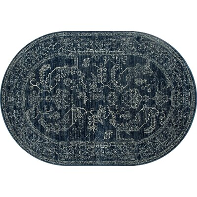 Channel Steel Blue Area Rug Rug Size: OVAL 67 x 96