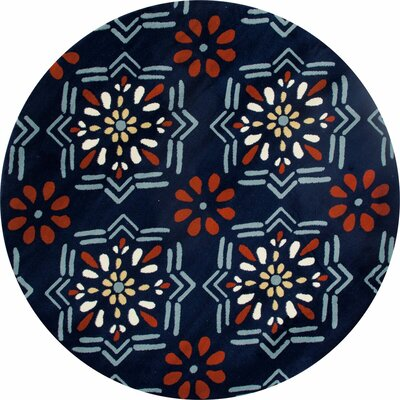 Vasquez Dark Blue/Orange Indoor/Outdoor Area Rug Rug Size: ROUND 53