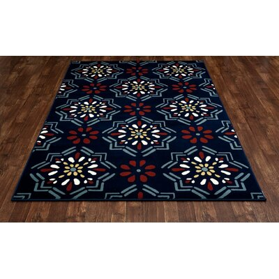 Vasquez Dark Blue/Orange Indoor/Outdoor Area Rug Rug Size: 92 x 124